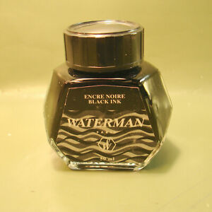 Waterman Encre Noire 50ml Black Fountain Pen Ink. New Old Stock. Made in FRANCE