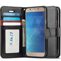 J&D Samsung Galaxy J7 Max [RFID Blocking Wallet] PU Leather Flip Wallet Case
