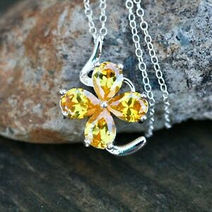 Sun Yellow Citrine Flower Pendant Silver , November Birthstone