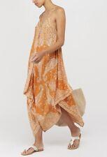 Orange White MONSOON Summer Beaded Patterned Evening Handkerchief Maxi Dress £49