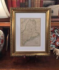 Framed Original 1908 Antique Map Maine : Impressive on Any Home or Office Wall