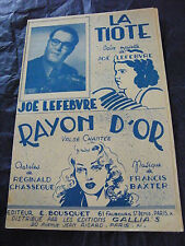 Partition La Tiote Joe Lefebvre Rayon d'or Baxter 1949 Music Sheet