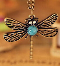Retro Vintage Pretty Dragonfly Nature turquoise Stone Pendant  Necklace Chain UK