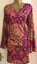 Ladies Hippie Boho 60s 70s Fancy-Dress in Pink/Multi Size M 12/14
