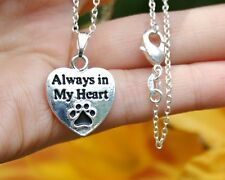.925 Sterling Silver NECKLACE Always in My Heart Paw Print Pendant Cat Dog Pet