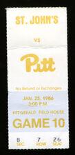 1986 Pitt v St. John's Basketball Ticket January 25 916
