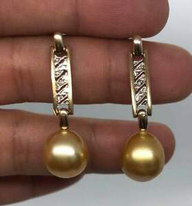 Stunning Solid 9K Gold Cultured South Sea Pearl & Diamond Earrings Dual Tone