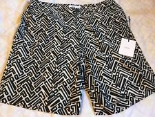 ONIA Black & White GEOMETRIC BRICKS Lined Zip Fly SWIMSUIT sz 30 NWT Ret $195