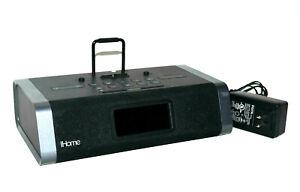 iHome IDL45 Charging FM Clock Radio Lightning USB Dock AUX In Black