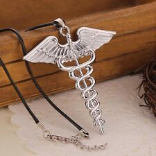 Fashion Percy Jackson Angle Wings Magic Wand vintage caduceus Pendant Necklace
