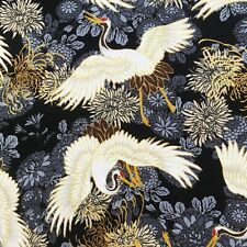 Cranes & Chrysanthemum fabric, Japanese black gold, stork heron Chinese Oriental