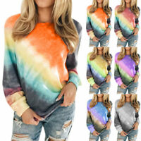 Womens Crew Neck Long Sleeve Pullover Tee Shirt Casual Loose Baggy Jumper Tops