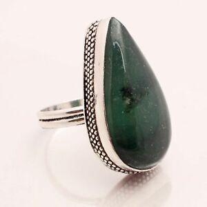 Green Agate Gemstone Ethnic Jewelry Handmade Designer Ring Size US 7.5 GRN-13236