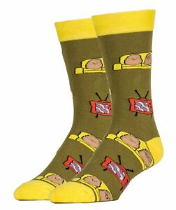 OOOH YEAH! Men's Novelty Crew Socks, MD6008C - Couch Potato Party