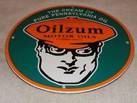 """VINTAGE OILZUM MOTOR OILS & LUBRICANTS 11 3/4"""" PORCELAIN METAL GASOLINE OIL SIGN"""