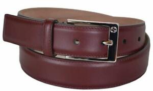 GUCCI BELT 345658 MENS STRONG RED LEATHER SQUARE LOGO BUCKLE AUTH NEW 105 / 42