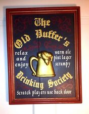 """Pub Bar Sign """"The Old Duffers Drinking Society"""" Solid Wood 17""""x 13""""x 1.5"""""""