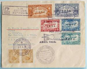 PARAGUAY to GERMANY 1934 ZEPPELIN, Cpl Airship Set on RARE 1st SAF Flight Cover