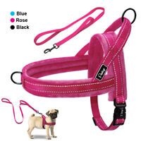 Reflective No Pull Dog Harness and Leash Front Leading Fleece Vest with Handle