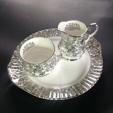 Royal Windsor China 25th Anniversary Sugar Bowl Creamer and Cake/Sandwich Plate