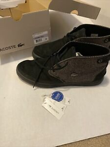 Lacoste Clavel 19 High Top Sneakers Black With Gray Sides