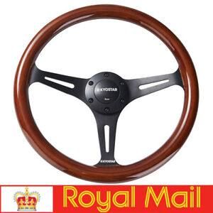 14'' Classic Wooden Steering Wheel 350mm Wood Grain Trim Matte Spoke Universal