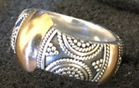 18K Solid Gold & 925 Sterling Silver Detailed Band Ring Sz 5.75 8.3gm GORGEOUS