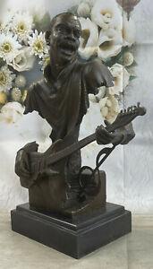 Art Déco Grand Dwight Musique Musicien Guitare Lecteur Jazz Bronze Statue