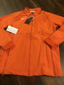 New Nike Womens Dri-fit Therma Full Zip Coaches Jacket Size Medium Orange