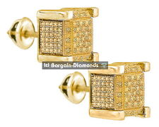 yellow diamond .12 carats cube stud screwback earrings men ladies 925 yellow 7x7