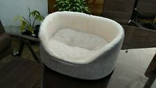 Grey Linen Oval Dog Bed