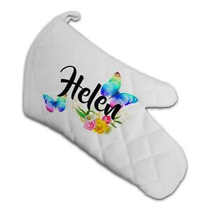 Personalised Beautiful Butterflies & Flowers Novelty Gift Padded Oven Glove