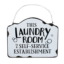 Country Metal Enamel Farmhouse Sign THIS LAUNDRY ROOM Plaque New