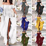 Women Off Shoulder Maxi Dress Ladies Sexy Bardot Evening Party Ball Gown UK Size