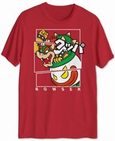 Super Mario Mens T-Shirt Red Size Small S Bowser Graphic Crewneck Tee $20 #247