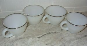 Anchor Hocking FireKing Fire King 4 White Coffee Cups w Silver Trim Excellent