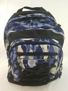 LL Bean Backpack Spherical Pattern Nylon School, Hiking, Camping, W/ Waist Belt