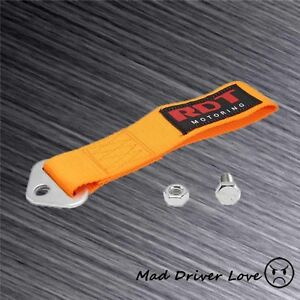 High Strength Racing Front Rear Bumper Tow Hook Towing Strap Universal Orange