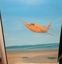 """EDWARD WATERS """"BELL X1 CHUCK YEAGER MACH-1"""" ORIGINAL OIL PLANE PAINTING"""