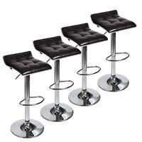 Set Of 4 Bar Stools PU Leather Swivel Counter Height Pub Dining Chair Kitchen
