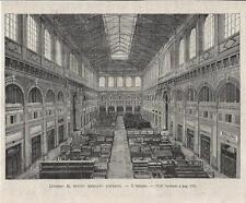 Stampa antica LIVORNO Mercato Coperto veduta dell'interno 1894 Old antique print