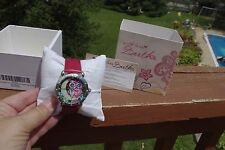 NIB Authentic Ladies Bertha Owl Watch Red Leather Band Heavy Gorgeous Well Made!