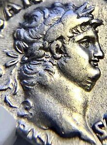 Nero - AR Silver Denarius -  Roma Seated, 12 Caesars, NGC - Fine Style