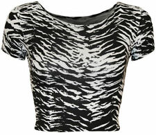 Animal Print Machine Washable Crop Tops for Women