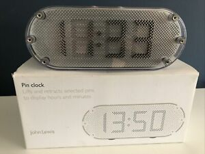 John Lewis Funky Metal Pin Contemporary Silver Desk Bedside Clock Boxed