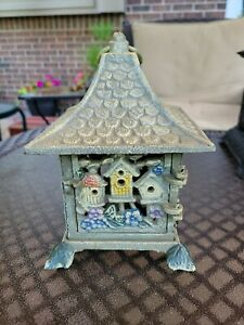 """HEAVY CAST IRON DECORATED CANDLE LANTERN 7""""H X 5.5"""" X 5.5"""""""