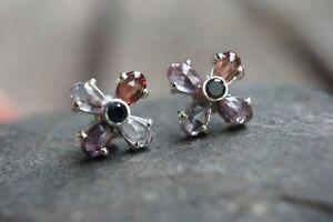 Tourmaline Sterling Silver Studs Black Diamond Studs Australian Seller Brand New