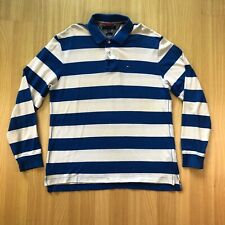Vintage TOMMY HILFIGER Striped Long Sleeve Polo Rugby Shirt Slim Fit Men's Sz XL