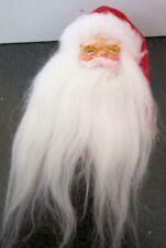 Hat, Plastic Face Christmas Pin Brooch Vintage Santa Claus, Fluffy Beard,Bell on