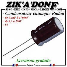 Condensateur chimique électrolytique 0,1uf à 4700uF de 6,3 à 100V 105°C